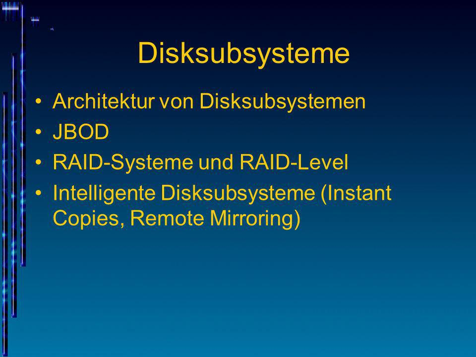 Disksubsysteme Architektur von Disksubsystemen JBOD