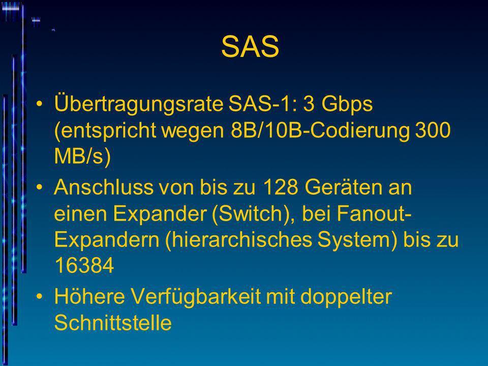 SASÜbertragungsrate SAS-1: 3 Gbps (entspricht wegen 8B/10B-Codierung 300 MB/s)