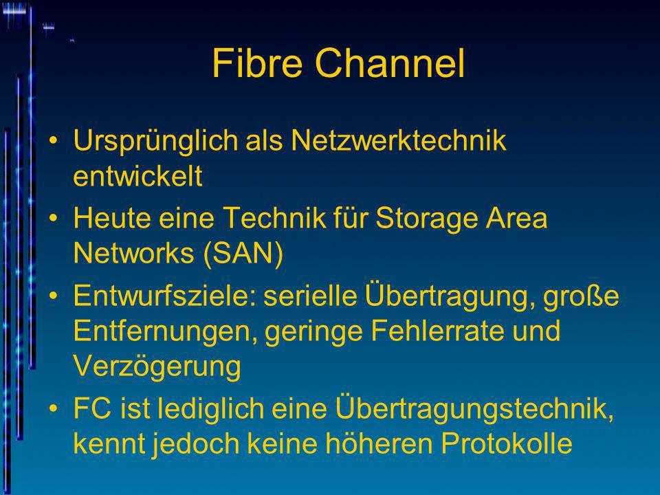 Fibre Channel Ursprünglich als Netzwerktechnik entwickelt