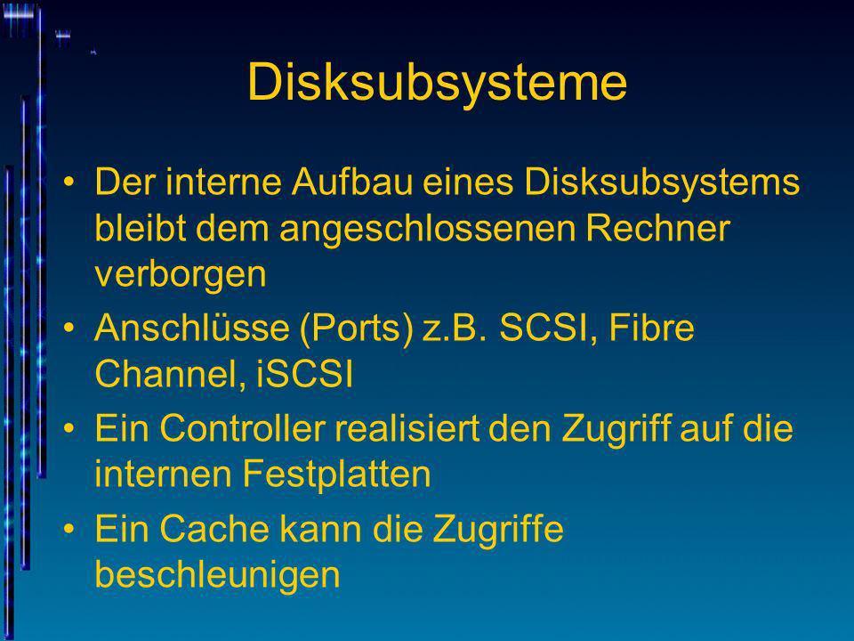 Disksubsysteme Der interne Aufbau eines Disksubsystems bleibt dem angeschlossenen Rechner verborgen.