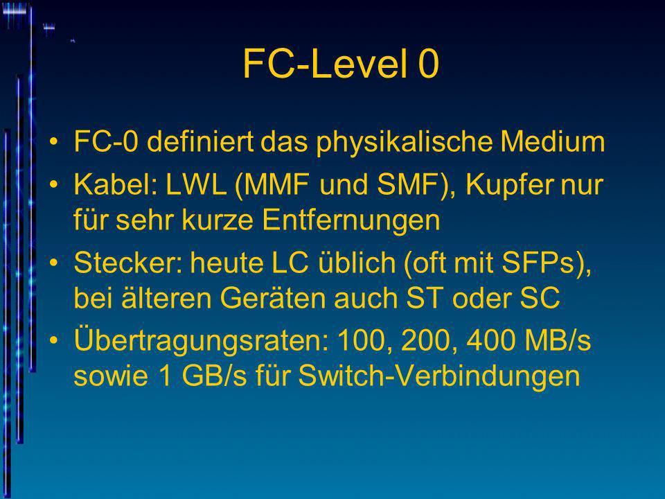 FC-Level 0 FC-0 definiert das physikalische Medium