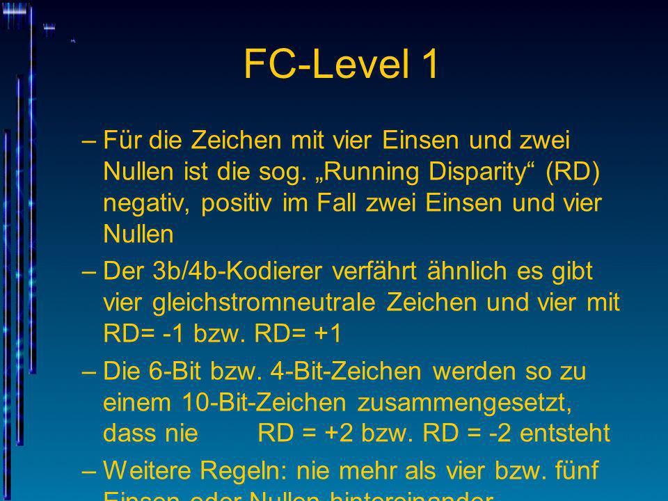 """FC-Level 1 Für die Zeichen mit vier Einsen und zwei Nullen ist die sog. """"Running Disparity (RD) negativ, positiv im Fall zwei Einsen und vier Nullen."""