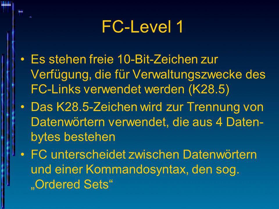 FC-Level 1 Es stehen freie 10-Bit-Zeichen zur Verfügung, die für Verwaltungszwecke des FC-Links verwendet werden (K28.5)