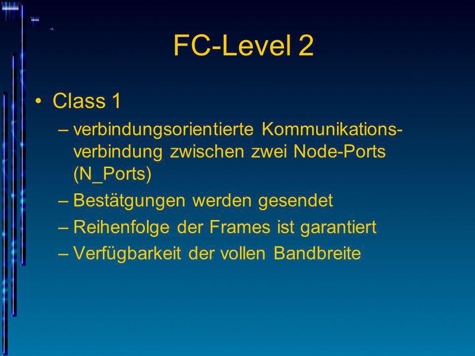 FC-Level 2 Class 1. verbindungsorientierte Kommunikations-verbindung zwischen zwei Node-Ports (N_Ports)