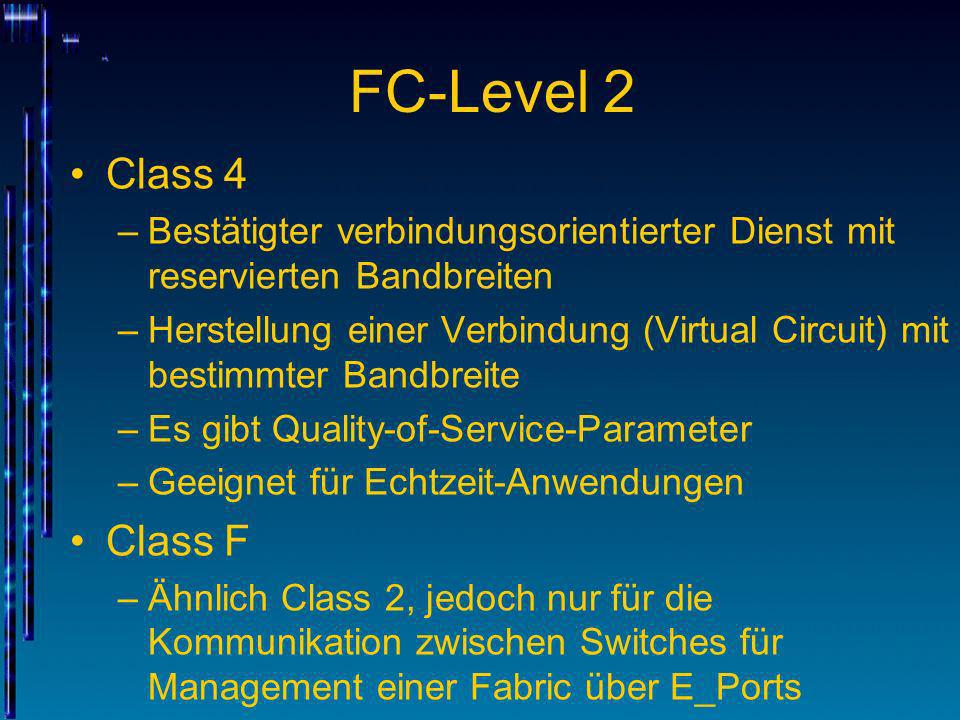 FC-Level 2 Class 4. Bestätigter verbindungsorientierter Dienst mit reservierten Bandbreiten.