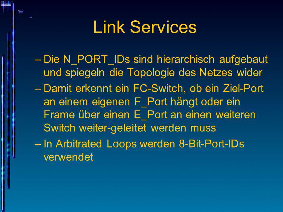 Link Services Die N_PORT_IDs sind hierarchisch aufgebaut und spiegeln die Topologie des Netzes wider.