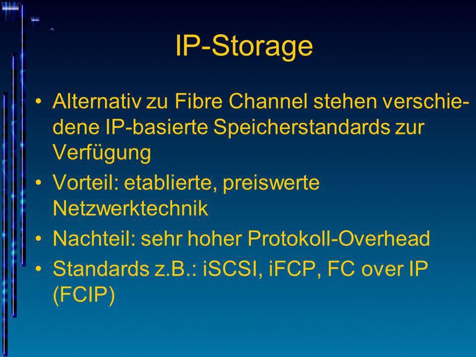 IP-Storage Alternativ zu Fibre Channel stehen verschie-dene IP-basierte Speicherstandards zur Verfügung.