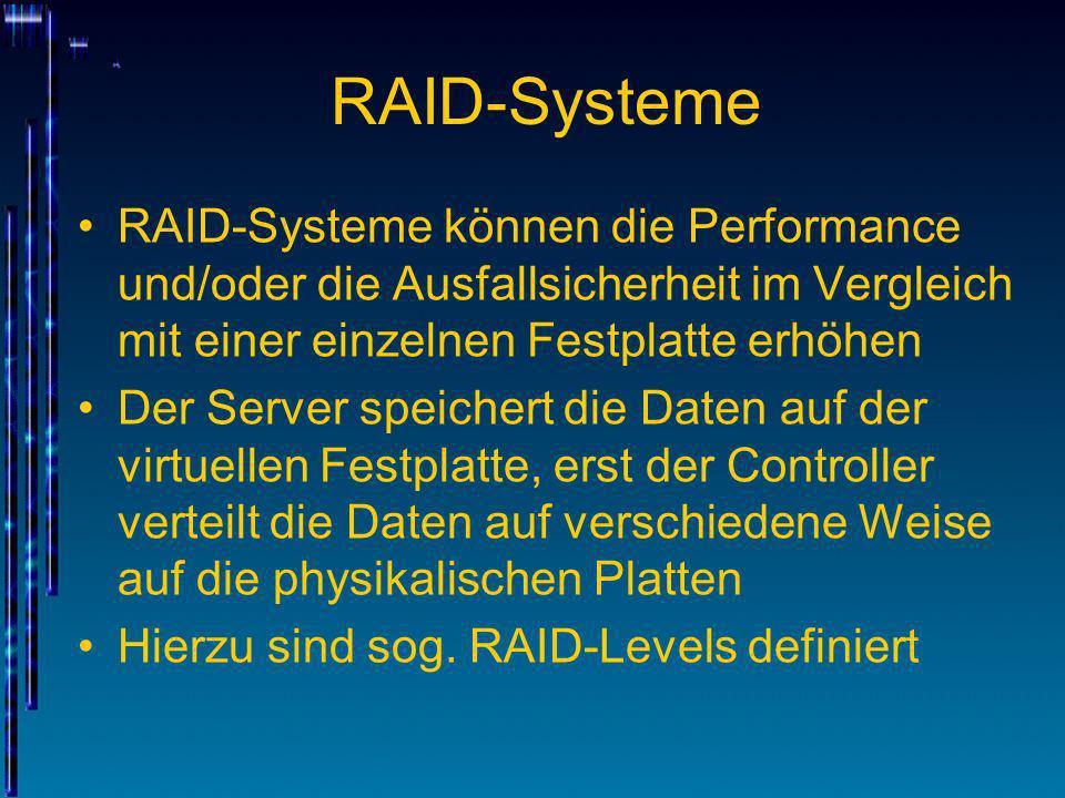 RAID-SystemeRAID-Systeme können die Performance und/oder die Ausfallsicherheit im Vergleich mit einer einzelnen Festplatte erhöhen.