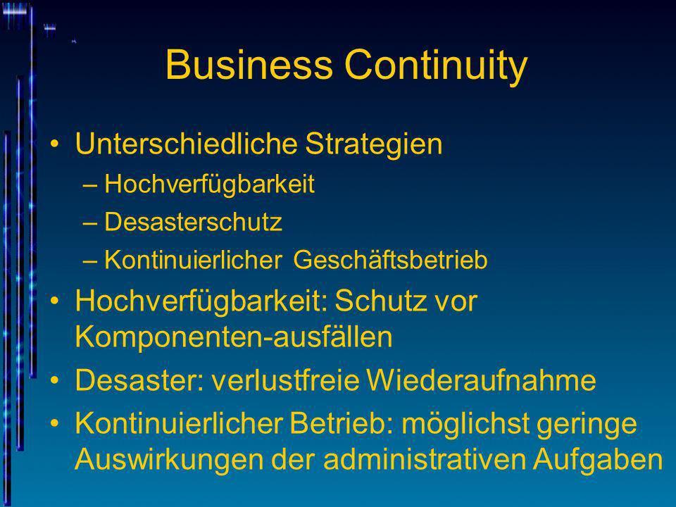 Business Continuity Unterschiedliche Strategien