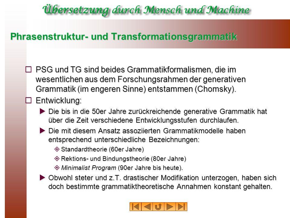 Phrasenstruktur- und Transformationsgrammatik