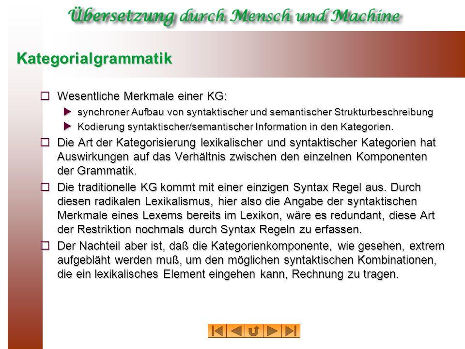 Kategorialgrammatik Wesentliche Merkmale einer KG: