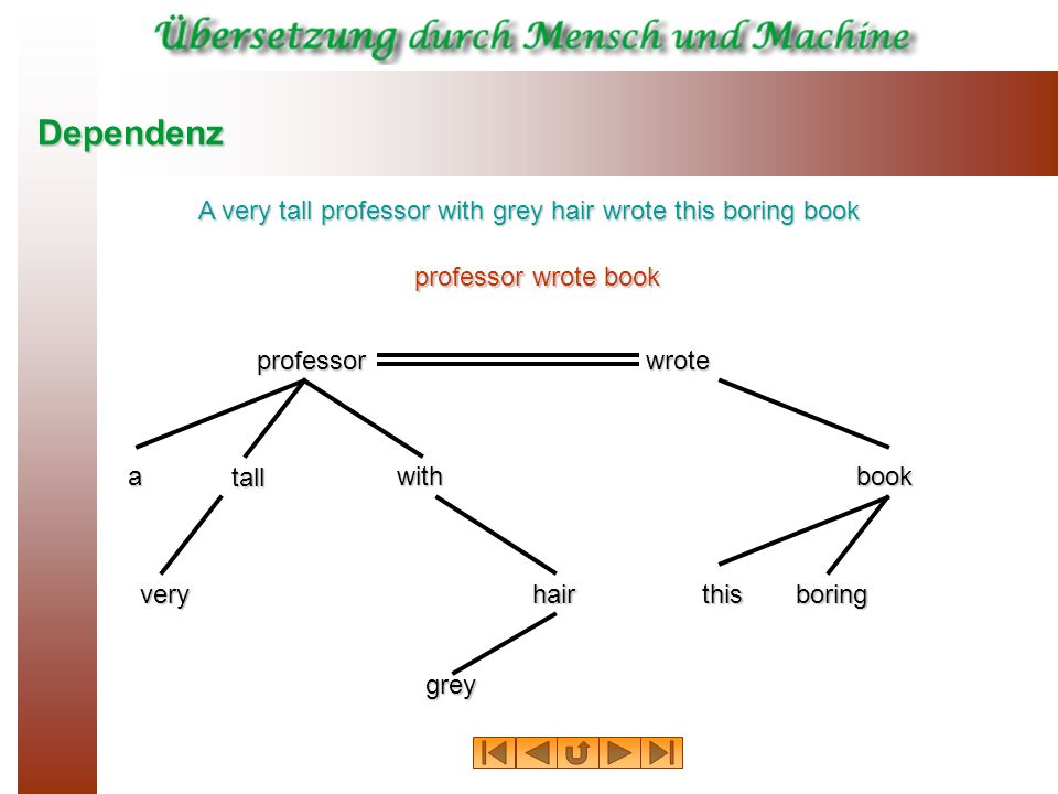 Dependenz A very tall professor with grey hair wrote this boring book