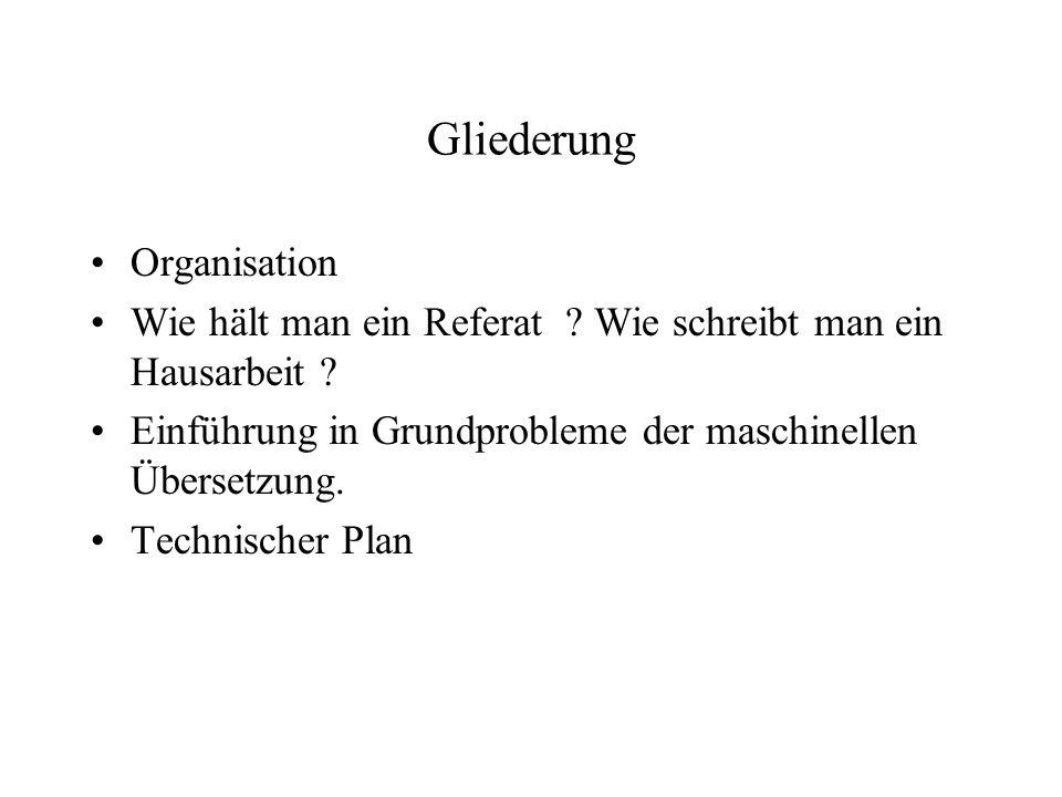 Gliederung Organisation