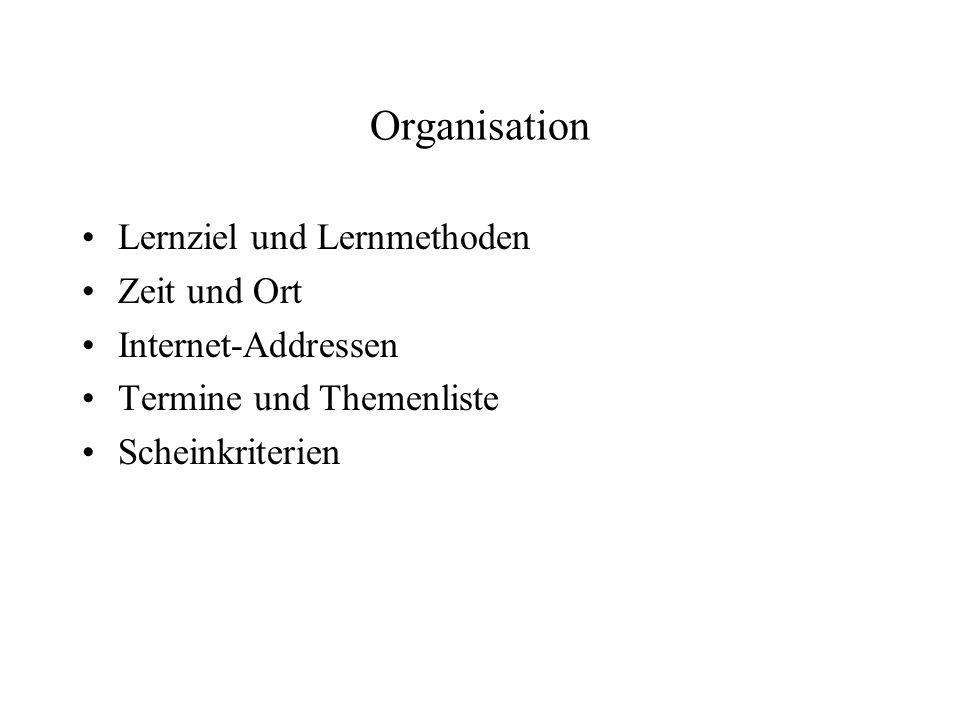 Organisation Lernziel und Lernmethoden Zeit und Ort Internet-Addressen