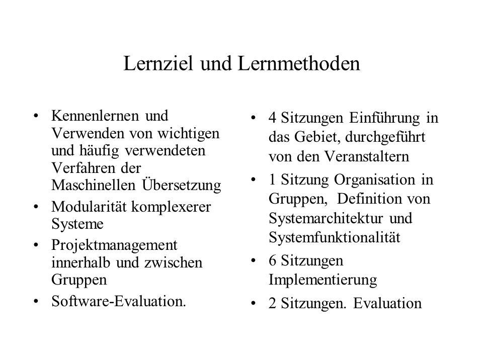 Lernziel und Lernmethoden