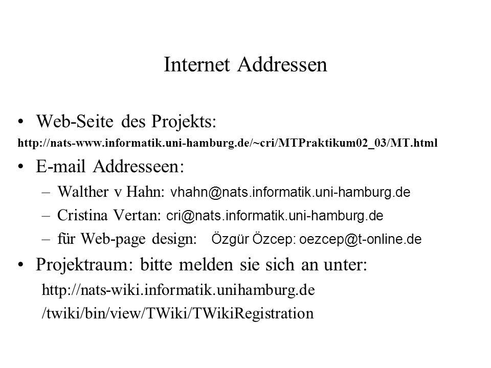 Internet Addressen Web-Seite des Projekts: E-mail Addresseen: