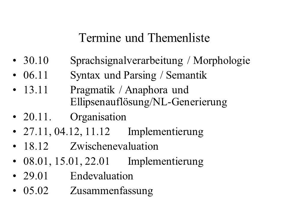 Termine und Themenliste