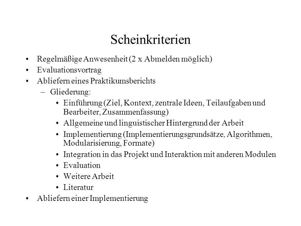 Scheinkriterien Regelmäßige Anwesenheit (2 x Abmelden möglich)