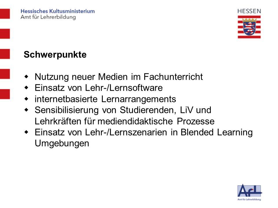 Schwerpunkte Nutzung neuer Medien im Fachunterricht. Einsatz von Lehr-/Lernsoftware. internetbasierte Lernarrangements.