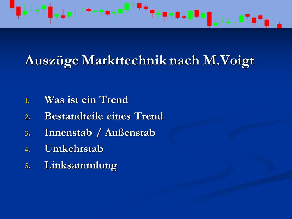 Auszüge Markttechnik nach M.Voigt