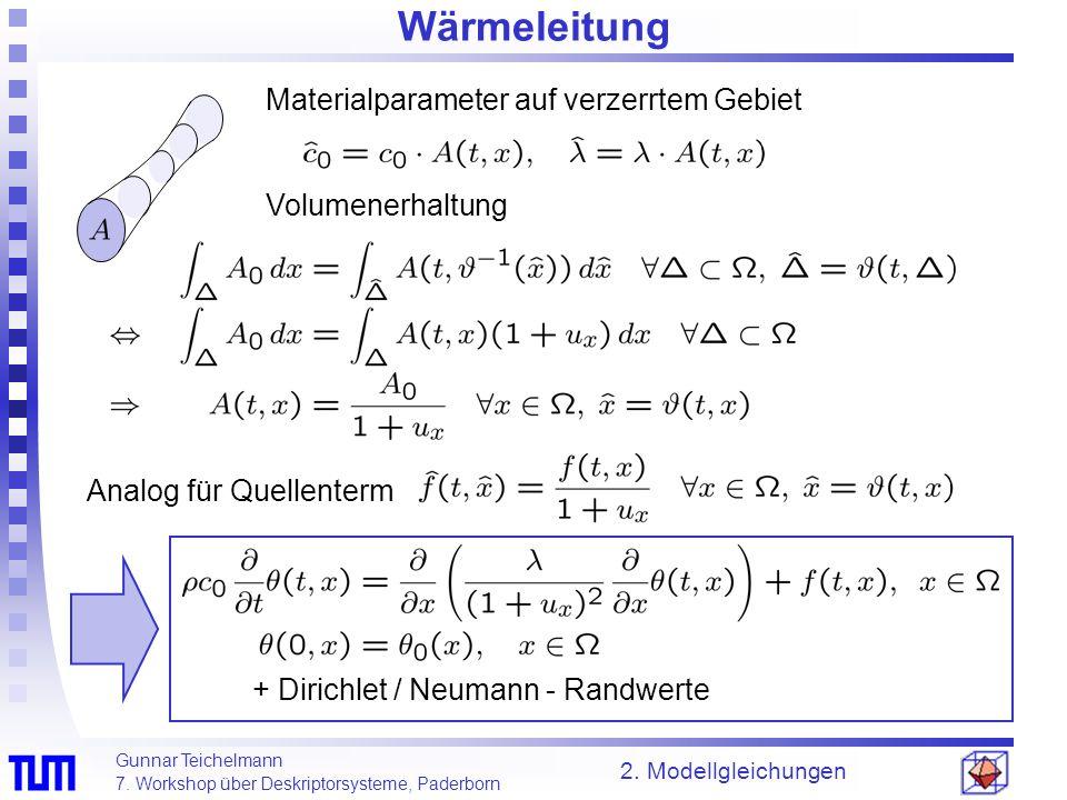 Wärmeleitung Materialparameter auf verzerrtem Gebiet Volumenerhaltung