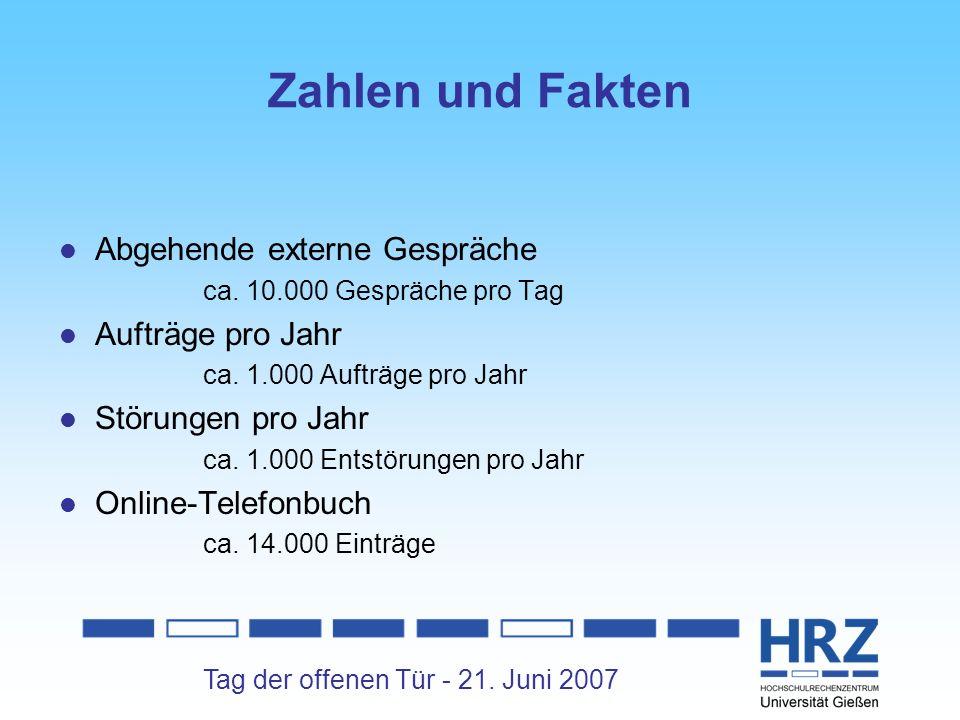Zahlen und Fakten Abgehende externe Gespräche Aufträge pro Jahr