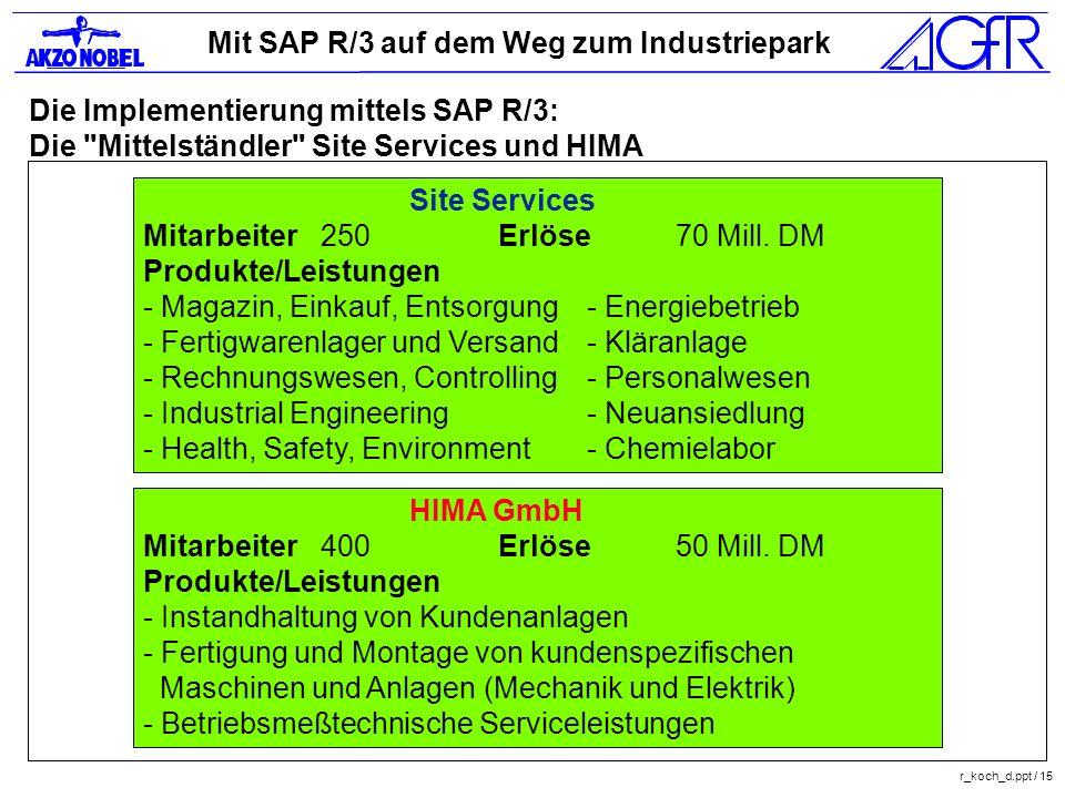 Die Implementierung mittels SAP R/3: Die Mittelständler Site Services und HIMA