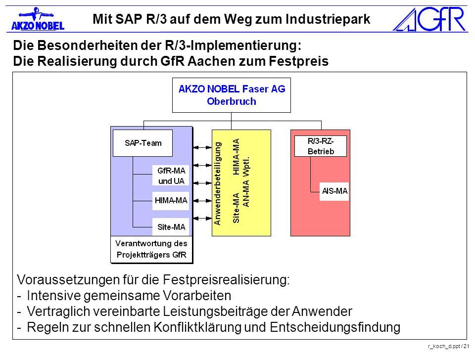 Die Besonderheiten der R/3-Implementierung: Die Realisierung durch GfR Aachen zum Festpreis