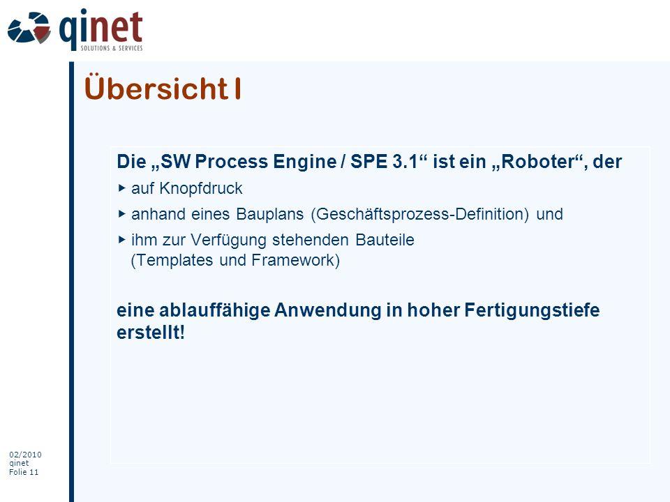 """Übersicht I Die """"SW Process Engine / SPE 3.1 ist ein """"Roboter , der"""
