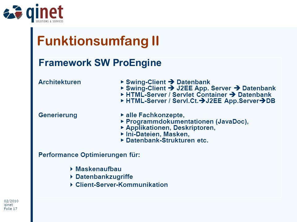 Funktionsumfang II Framework SW ProEngine