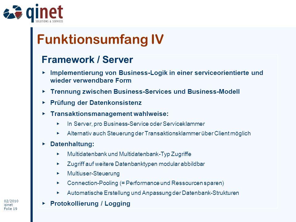 Funktionsumfang IV Framework / Server