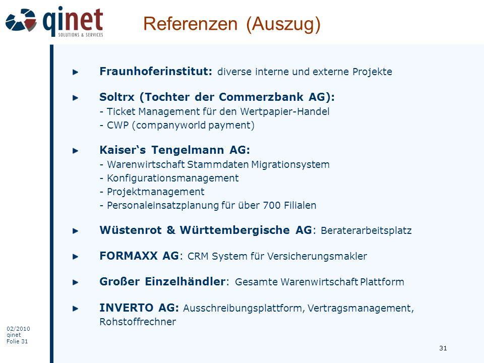 Referenzen (Auszug) Fraunhoferinstitut: diverse interne und externe Projekte.