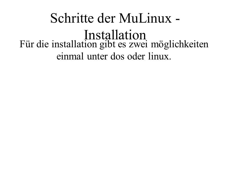 Schritte der MuLinux - Installation