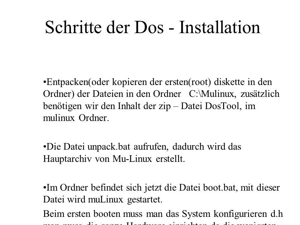 Schritte der Dos - Installation
