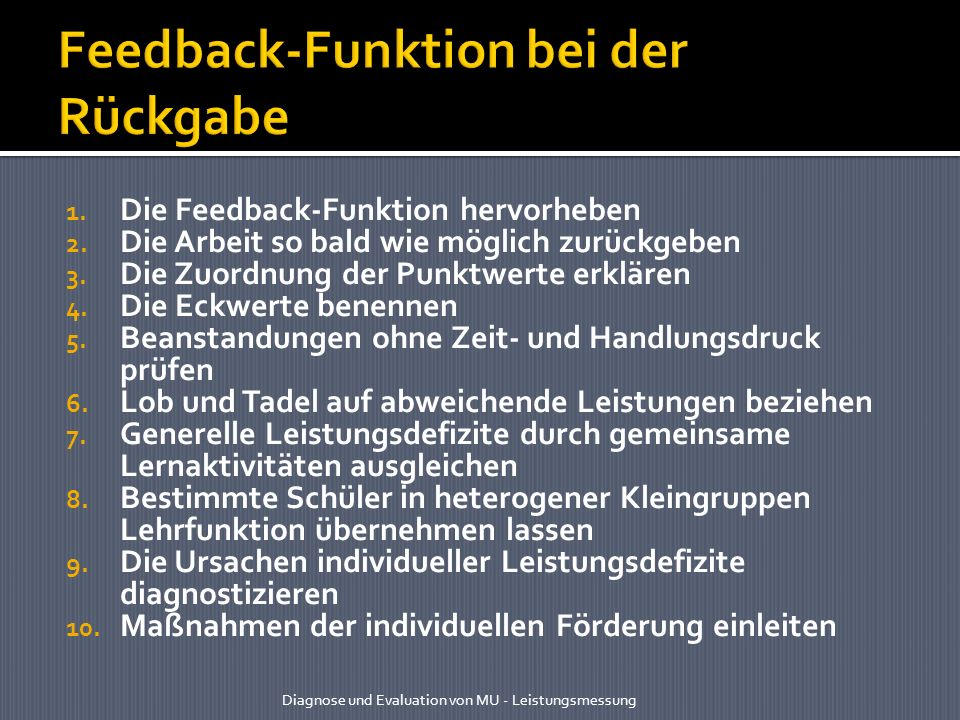 Feedback-Funktion bei der Rückgabe
