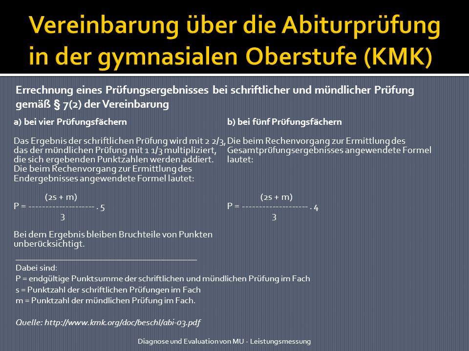 Vereinbarung über die Abiturprüfung in der gymnasialen Oberstufe (KMK)