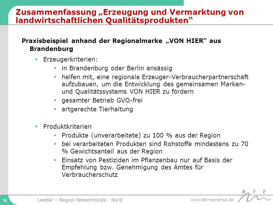 """Zusammenfassung """"Erzeugung und Vermarktung von landwirtschaftlichen Qualitätsprodukten"""