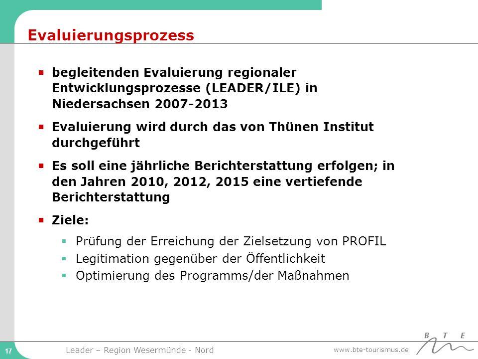 Evaluierungsprozess begleitenden Evaluierung regionaler Entwicklungsprozesse (LEADER/ILE) in Niedersachsen 2007-2013.