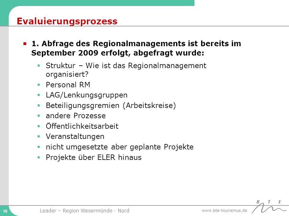 Evaluierungsprozess 1. Abfrage des Regionalmanagements ist bereits im September 2009 erfolgt, abgefragt wurde: