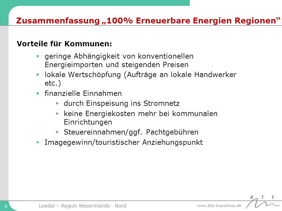"""Zusammenfassung """"100% Erneuerbare Energien Regionen"""