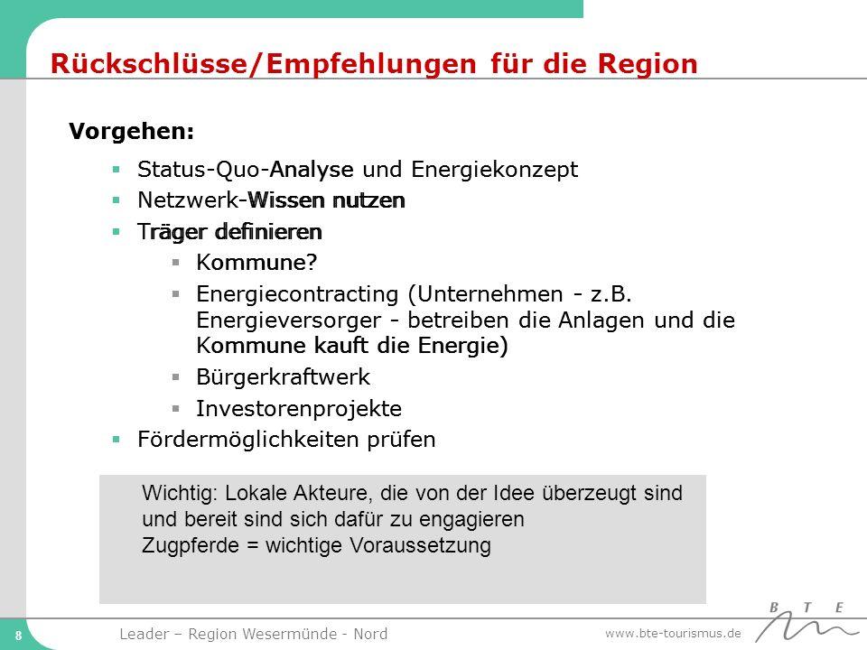 Rückschlüsse/Empfehlungen für die Region
