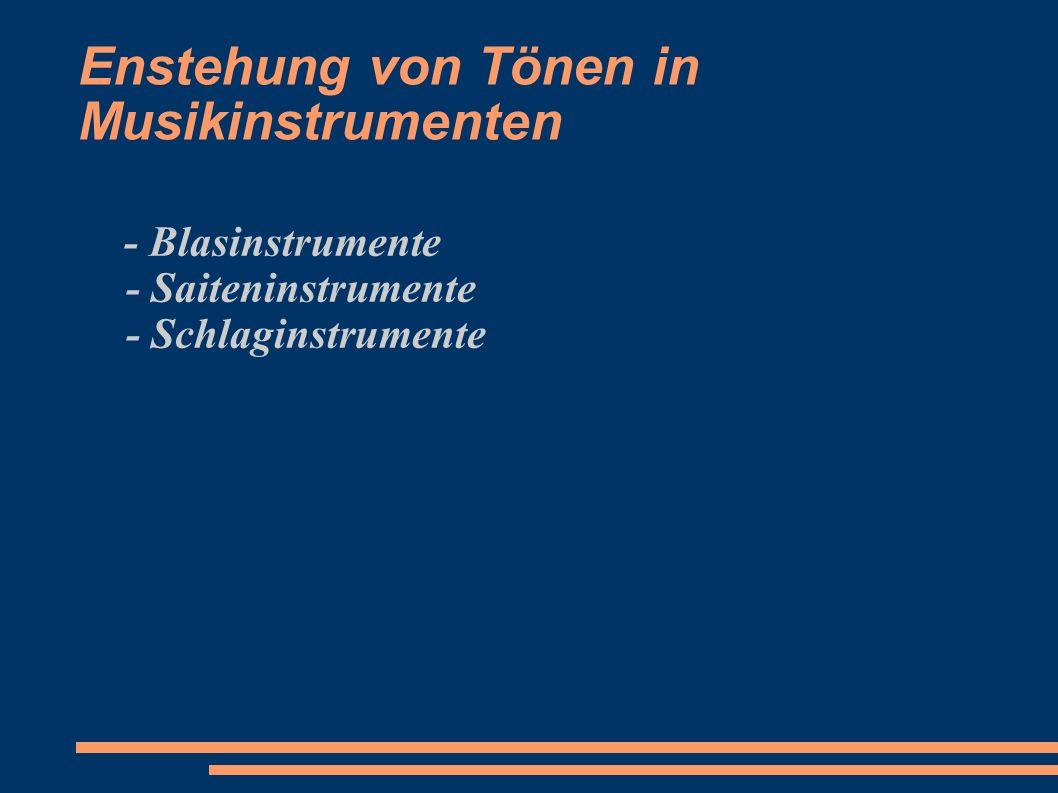 Enstehung von Tönen in Musikinstrumenten