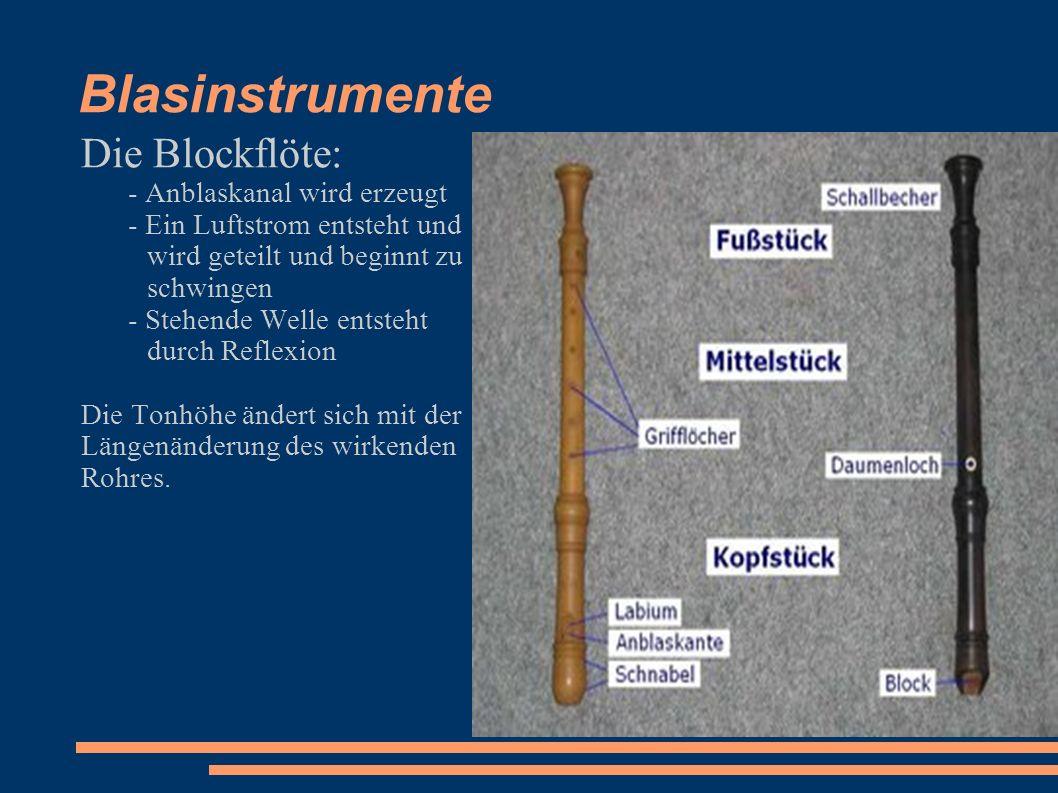 Blasinstrumente Die Blockflöte: - Anblaskanal wird erzeugt