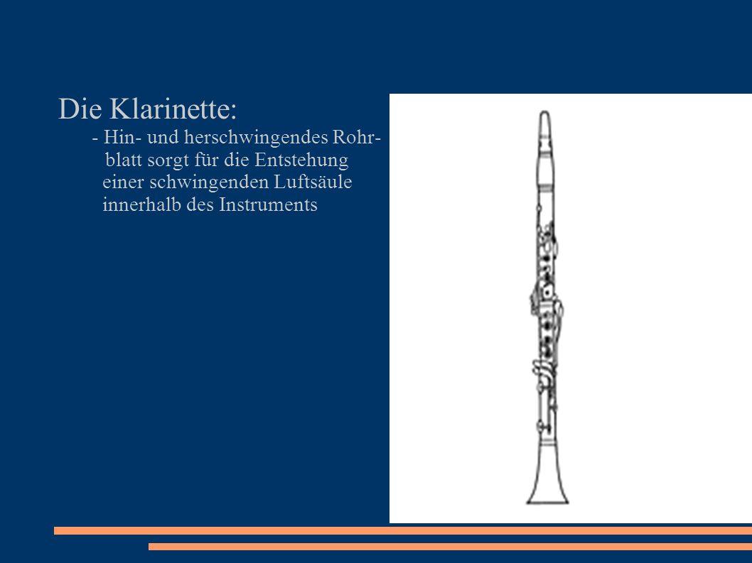 Die Klarinette: - Hin- und herschwingendes Rohr-