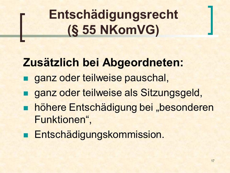 Entschädigungsrecht (§ 55 NKomVG)