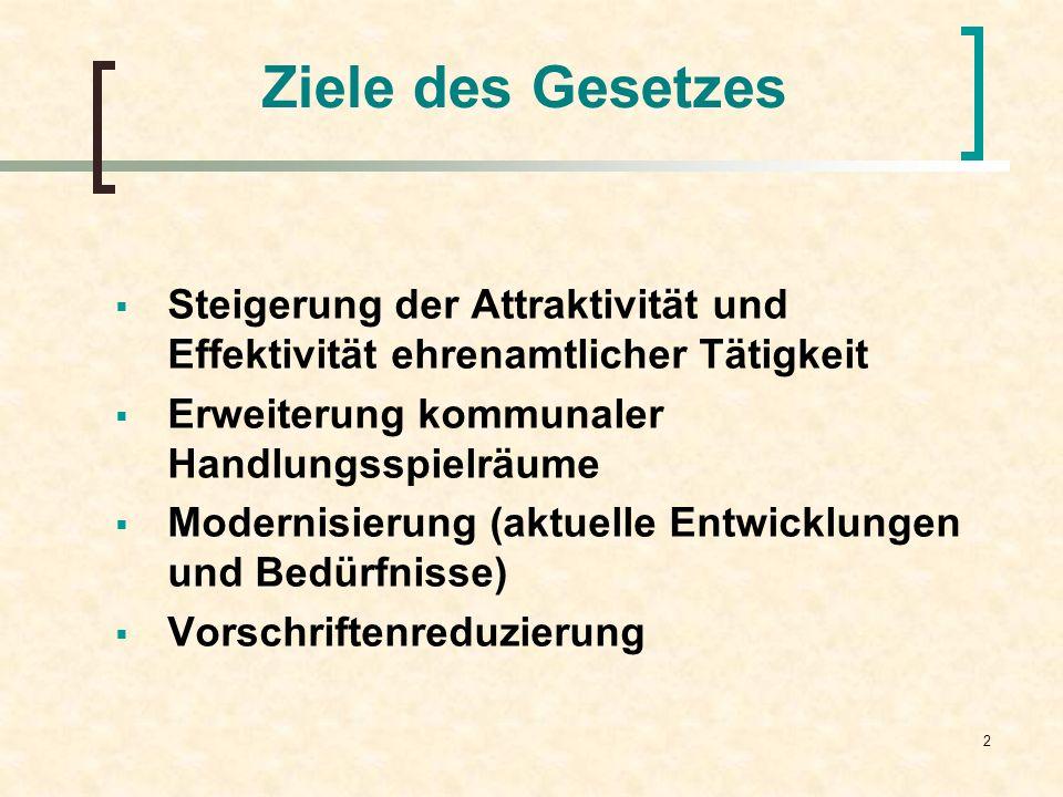 Ziele des GesetzesSteigerung der Attraktivität und Effektivität ehrenamtlicher Tätigkeit. Erweiterung kommunaler Handlungsspielräume.
