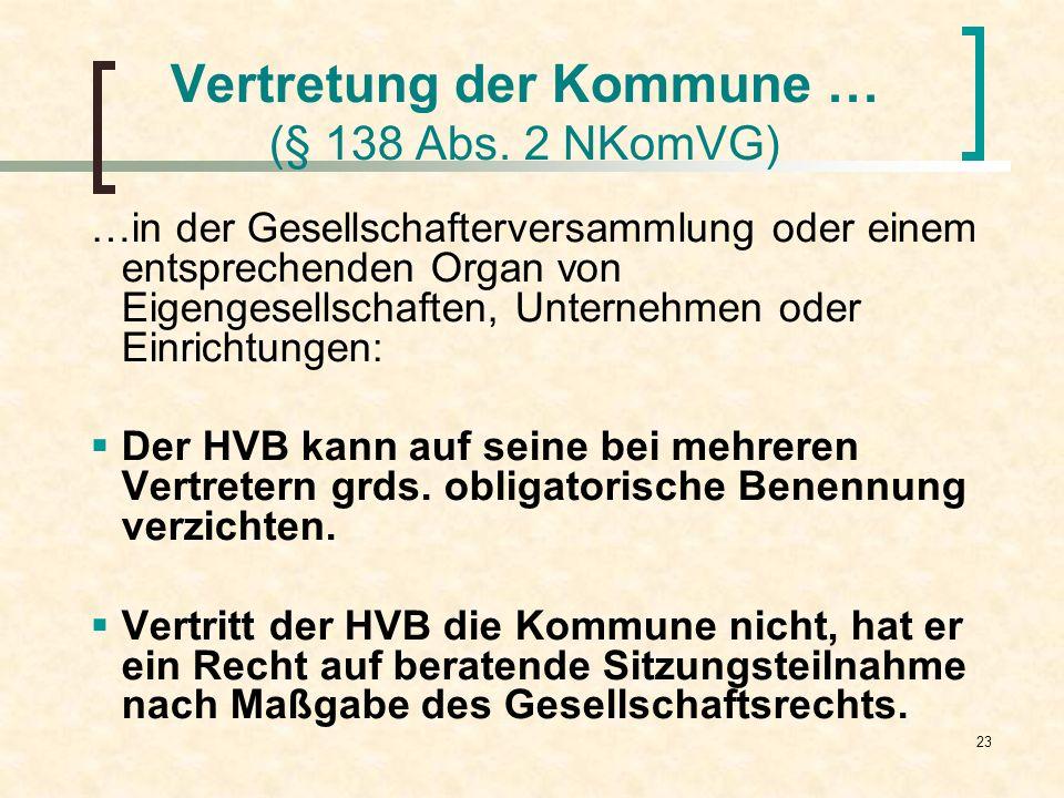 Vertretung der Kommune … (§ 138 Abs. 2 NKomVG)