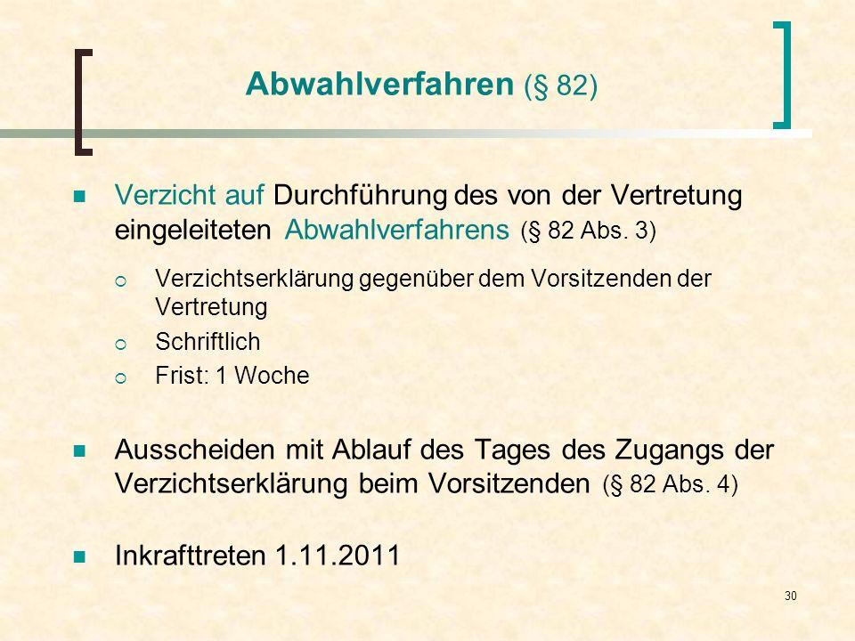 Abwahlverfahren (§ 82) Verzicht auf Durchführung des von der Vertretung eingeleiteten Abwahlverfahrens (§ 82 Abs. 3)