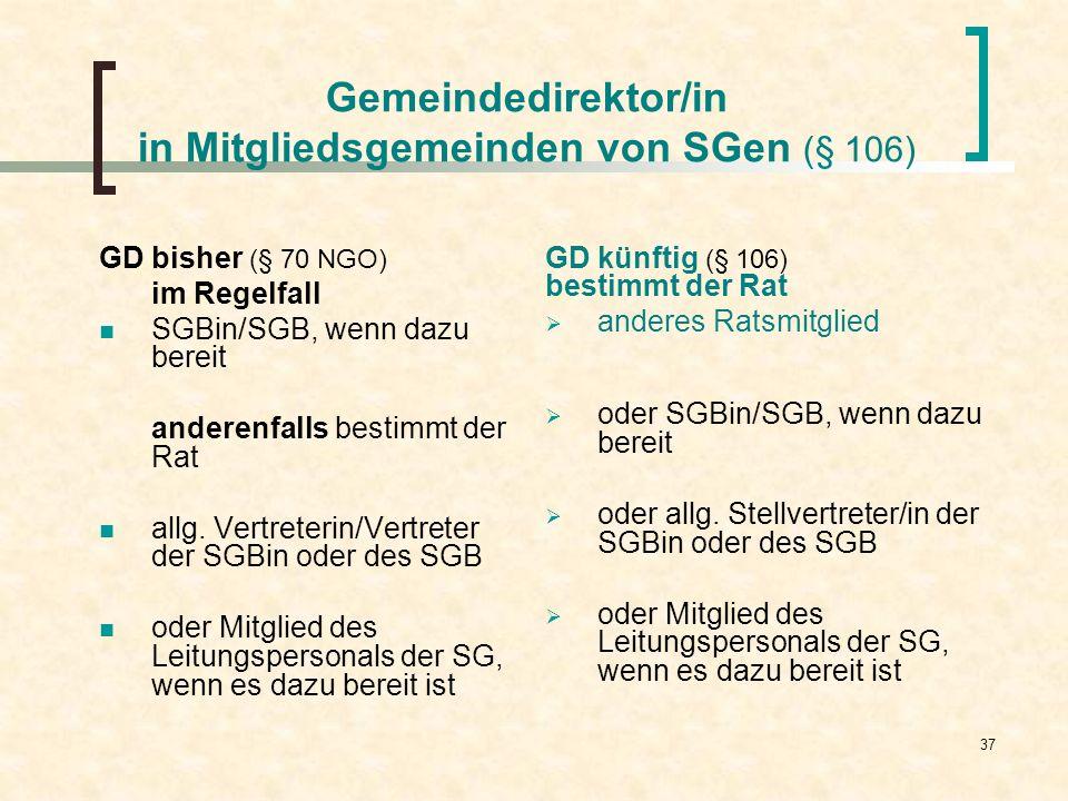 Gemeindedirektor/in in Mitgliedsgemeinden von SGen (§ 106)