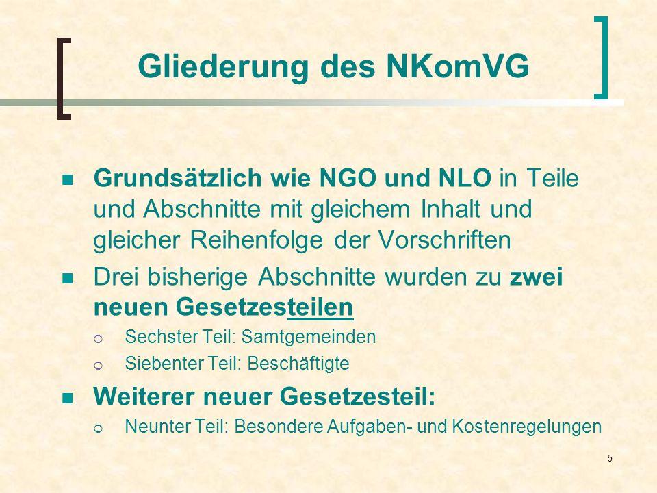 Gliederung des NKomVG Grundsätzlich wie NGO und NLO in Teile und Abschnitte mit gleichem Inhalt und gleicher Reihenfolge der Vorschriften.